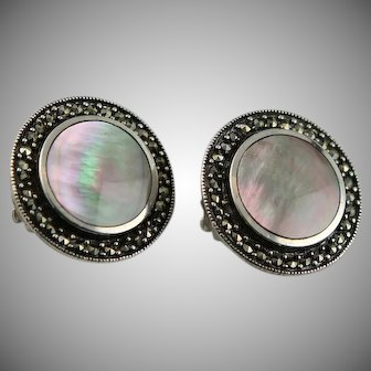 Stunning Vintage Sterling Marcasite Shell Earrings