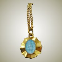 Blue Enamel Blessed Mary Metal & Chain
