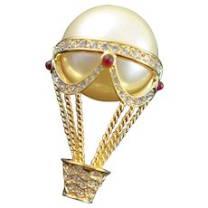 Kenneth J Lane Hot Air Balloon Brooch
