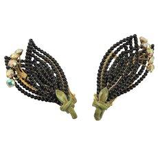 Black Wired Bead Lisner Clip Earrings