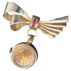 Extraordinary Vintage 12KGF National Watch Brooch