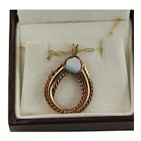 Lovely 14KGF Opal Pendant & Chain Necklace