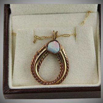 Lovely 14KGF Opal Pendent & Chain Necklace