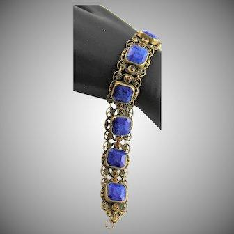 Antique Blue Lapis & Brass Filigree Bracelet