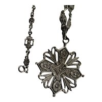 Vintage French 800 Silver Gothic Medallion Cross Pendant
