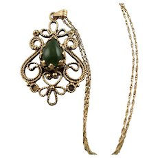 Uniquely Beautiful 14K Gold & Jade Pendent Necklace