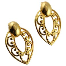 Vintage Golden Articulated Clip Earrings