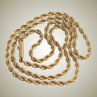 Fabulous Vintage 14K Gold Rope Chain