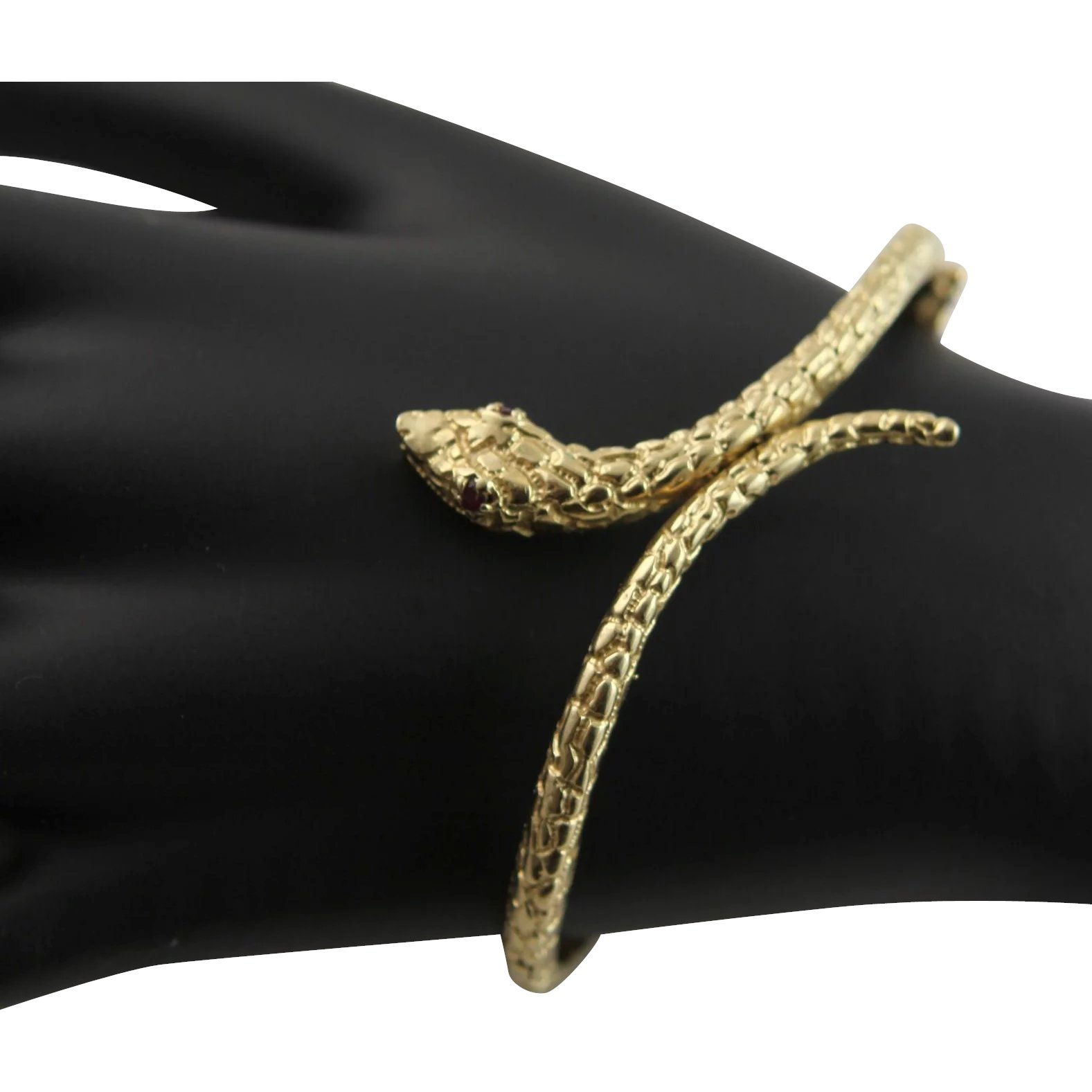 14k Gold Snake Bracelet With Ruby Eyes