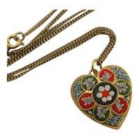 Vintage Italian Micro Mosaic Pendant Necklace