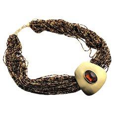 Big Bold 1980's Multi Strand Necklace
