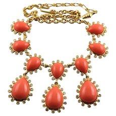 KJL Coral Resin Cabochons Swarovski Crystals Necklace