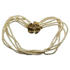 Trifari Five Strand Faux Pearl & Fancy Peddle Clasp Necklace
