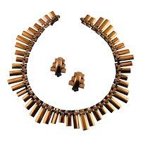 Signed Renoir Copper Necklace & Earrings