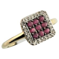 Ruby & 14K Gold Square Top Ring