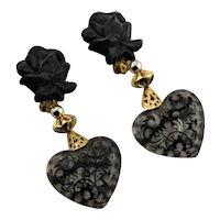 Big Bold 1980's Black Lucite Earrings