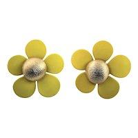 1960's Sarah Coventry Yellow Enamel Earrings