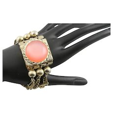 Pink Lucite Tile Chain Bracelet