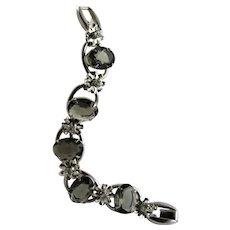 Large Oval Shaped Black Diamond Stone Bracelet