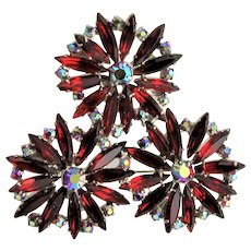 Outstanding Red Crystal Large Brooch