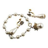 Vintage Miriam Haskell Bracelet & Earrings Set