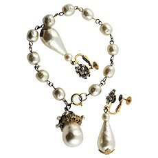 Signed Miriam Haskell Glass Pearl Bracelet & Matching Earrings