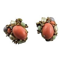 Beautiful Ciner Coral & Rhinestone Earrings