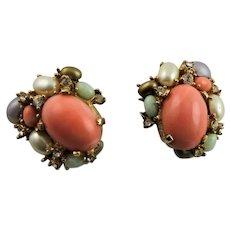 Beautiful Ciner Coral & Rhinestone Earrings
