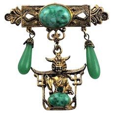 Asian Themed Jade Like Brooch