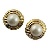 Beautiful Ciner Gold & Simulated Pearl Earrings