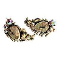 Har Dragon Tooth & AB Rhinestone Earrings