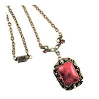 Lovely Etruscan Revival Style Necklace In Pink