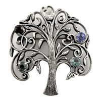Vintage Sterling Colored Stone Family Tree Brooch