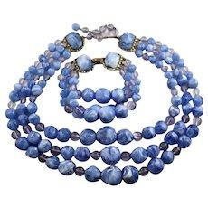 Vintage Blue Molded Plastic Star Three Strand Set