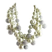Outstanding KJL Multi Strand White Simulated Pearl Necklace