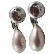 Lovely Glass Pearl Clip Earrings Marked