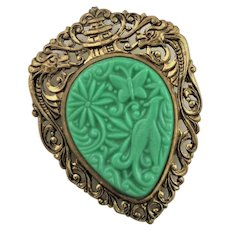 Pretty Brass Mounted Green Resin Cabochon Brooch
