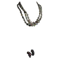 Great Three Strand Crystal Necklace & Earrings Set