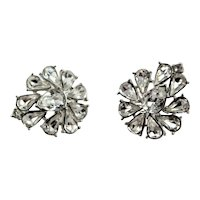 Spectacular Trifari Clear Rhinestone Earrings