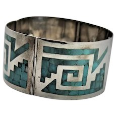 Wonderful Turquoise Inlay & Sterling Marked Bracelet
