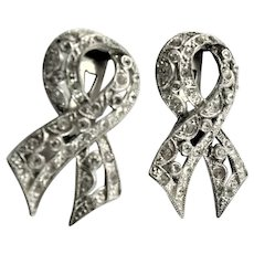 Two Identical Vintage Clear Rhinestone Dress Clips