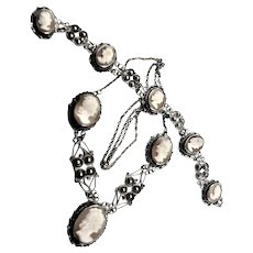 Beautiful Sterling & Shell Carved Cameo Necklace & Bracelet