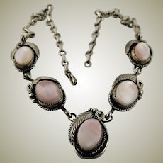 Signed Navajo Mother Of Pearl & Sterling Necklace