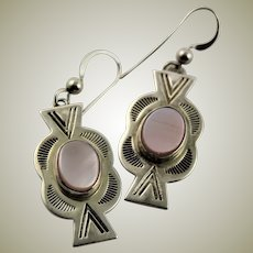 Signed Sterling & Pink Mother of Pearl Earrings