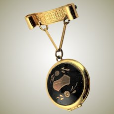 Vintage Black Enamel Locket Brooch