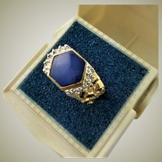 Outstanding 10K White & Yellow Gold Blue Star Sapphire Ring
