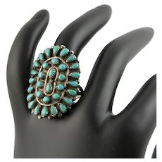 Outstanding Petite Point Turquoise Native American Ring