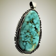 Spectacular Untreated Old Turquoise Large Pendent