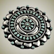 Vintage Zuni Sterling & Turquoise Brooch