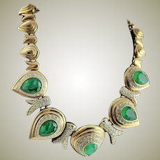 Spectacular Older KJL Emerald & Diamonette Costume Masterpiece